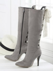 Grey Point Toe Stiletto Cross Strap Fashion Knee-High Boots