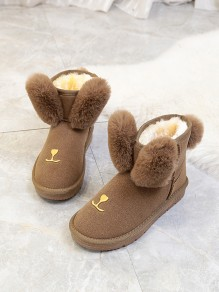 Brown Round Toe Flat Faux Fur Fashion Ankle Boots