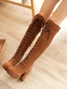 Yellow Round Toe Chunky Fashion Knee-High Boots