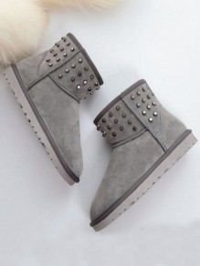 Grey Round Toe Flat Rivet Fashion Ankle Boots