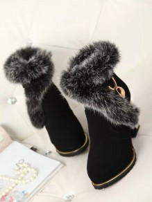 Black Round Toe Chunky Faux Fur Fashion Ankle Boots