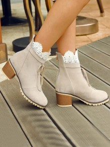 Beige Round Toe Chunky Lace Patchwork Fashion Ankle Boots