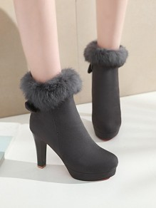 Grey Round Toe Stiletto Bow Faux Fur Fashion Ankle Boots