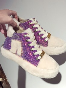 Purple Round Toe Flat Sequin Fashion Ankle Shoes