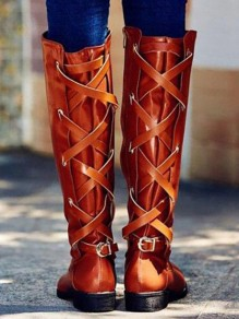 Yellow Round Toe Chunky Cross Strap Metal Decoration Fashion Knee-High Boots