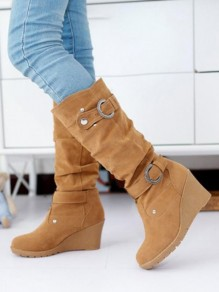 Yellow Round Toe Wedges Rivet Metal Decoration Buckle Fashion Mid-Calf Boots