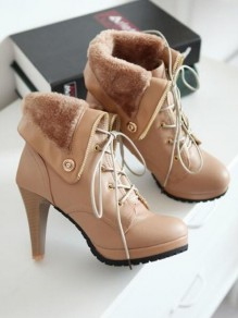 Apricot Round Toe Stiletto Rivet Fashion Ankle Boots