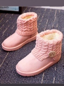 Pink Round Toe Buttons Fashion Ankle Boots