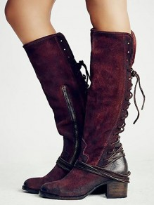 Red Round Toe Chunky Fashion Knee-High Boots