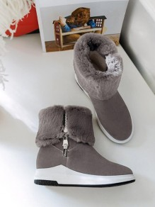 Grey Round Toe Flat Zipper Fashion Mid-Calf Boots