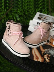 Pink Round Toe Flat Cross Strap Fashion Ankle Boots