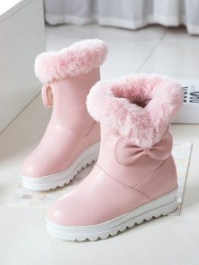 Pink Round Toe Bow Fashion Ankle Boots