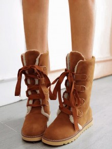 Yellow Round Toe Flat Cross Strap Fashion Mid-Calf Boots