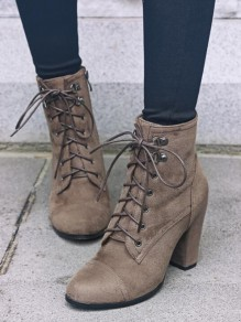 Khaki Round Toe Chunky Fashion Ankle Boots