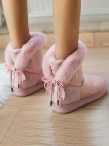 Pink Round Toe Flat Bow Rhinestone Fashion Ankle Boots