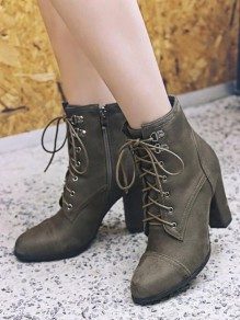 Army Green Round Toe Chunky Fashion Ankle Boots