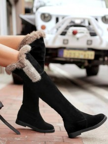 Black Round Toe Fashion Over-The-Knee Boots