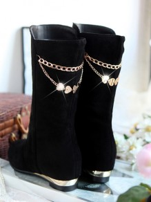 Black Round Toe Flat Metal Decoration Chain Fashion Mid-Calf Boots