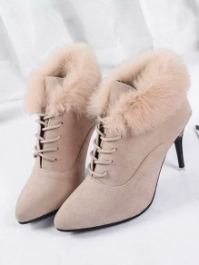 Brown Point Toe Stiletto Fashion Ankle Boots