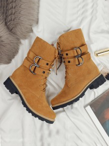 Brown Round Toe Chunky Rivet Buckle Fashion Ankle Boots