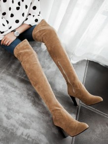 Yellow Round Toe Chunky Fashion Over-The-Knee Boots