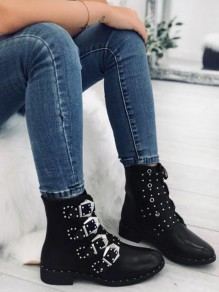 Black Round Toe Rivet Fashion Ankle Boots