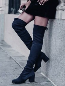 Black Round Toe Chunky Drawstring Fashion Over-The-Knee Boots