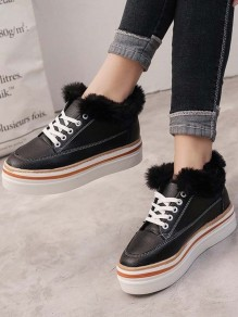 Black Round Toe Fashion Ankle Shoes