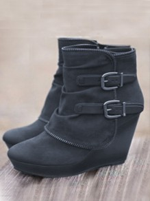 Grey Round Toe Wedges Fashion Ankle Boots