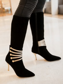 Black Point Toe Stiletto Patchwork Fashion Knee-High Boots