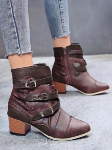 Coffee Round Toe Chunky Fashion Ankle Boots