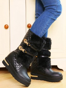 Black Round Toe Flat Sequin Fashion Mid-Calf Boots