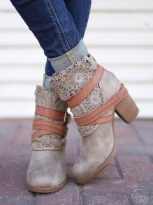 Grey Round Toe Chunky Patchwork Fashion Ankle Boots
