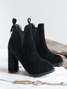 Black Point Toe Chunky Fashion Ankle Boots