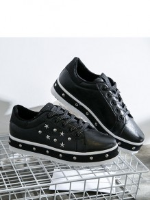 Black Round Toe Flat Sequin Rivet Fashion Shoes