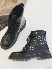 Black Round Toe Wedges Rivet Fashion Ankle Boots
