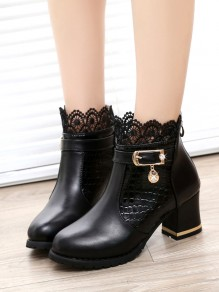 Black Round Toe Chunky Zipper Grenadine Ankle Boots