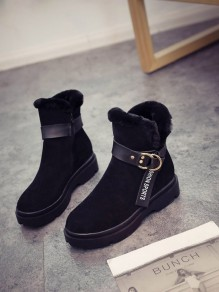 Black Round Toe Flat Patchwork Buckle Fashion Ankle Boots