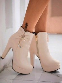 Beige Round Toe Chunky Bow Rhinestone Fashion Ankle Boots