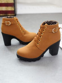 Yellow Round Toe Chunky Buttons Casual Ankle Boots