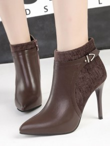 Brown Point Toe Stiletto Sequin Fashion Ankle Boots