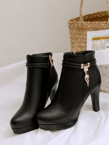 Black Round Toe Stiletto Rhinestone Fashion Ankle Boots