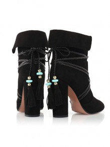 Black Point Toe Chunky Cross Strap Tassel Fashion Ankle Boots