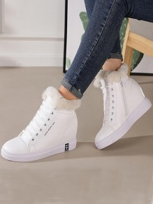 White Round Toe Wedges Fashion Shoes