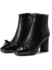 Black Square Toe Chunky Fashion Bow Ankle Boots