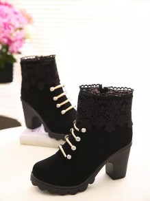Black Round Toe Chunky Cute Pearl Ankle Boots