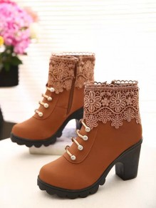 Brown Round Toe Chunky Cute Pearl Ankle Boots