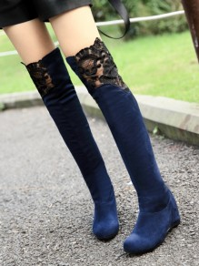 Blue Point Toe Wedges Fashion Grenadine Over-The-Knee Boots