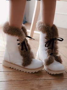 White Round Toe Flat Faux Fur Patchwork Cross Strap Fashion Ankle Boots
