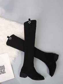 Black Round Toe Wedges Fashion Rhinestone Over-The-Knee Boots
